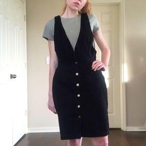 VTG Black Denim pinafore pencil dress